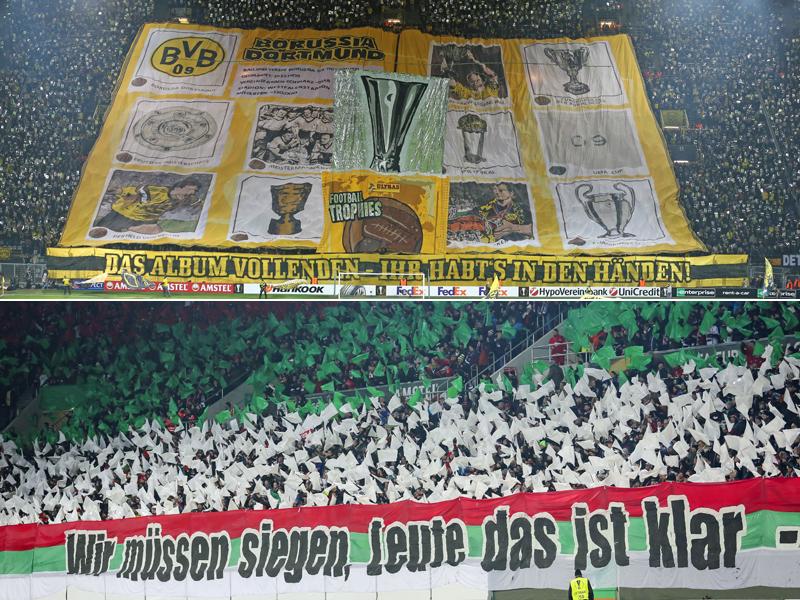 Fans von Borussia Dortmund und des FC Augsburg