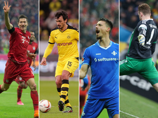 Robert Lewandowski, Mats Hummels, Sandro Wagner und Ralf Fährmann (v.li.)