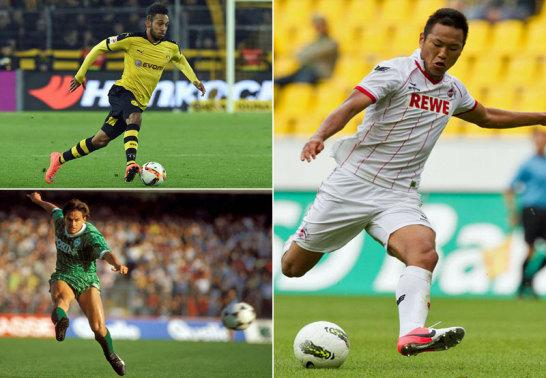 Dortmunds Pierre-Emerick Aubameyang, Werders Wynton Rufer und Kölns Chong Tese