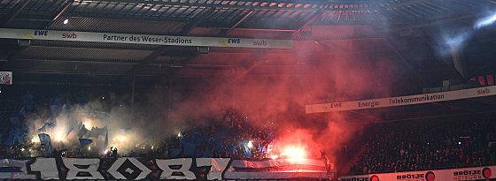 Gästeblock im Bremer Stadion