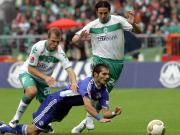 Die Bremer Jensen und Pizarro (re.) gegen Schalkes Altintop.
