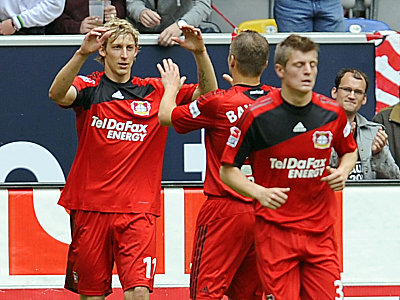 Stefan Kießling, Michal Kadlec und Toni Kroos (v. li.)