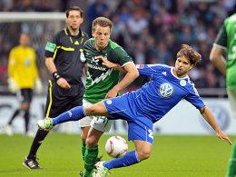 Stark an alter Wirkungsstätte: Wolfsburgs Diego (re.) im Zweikampf mit Philip Bargfrede