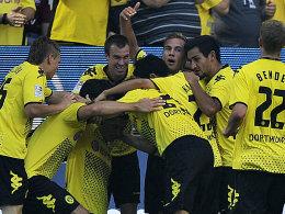 Dortmunder Jubel: Lewandowski erlöste den Meister gegen den 1. FCN und die Freude war entsprechend groß.