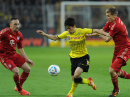 Kagawa gegen Ribery (li.) und Badstuber