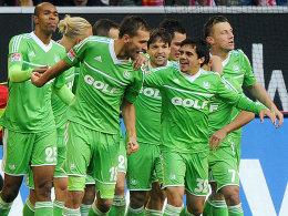 Bisher ein seltenes Bild: Wolfsburger Torjubel in der Saison 2012/13.