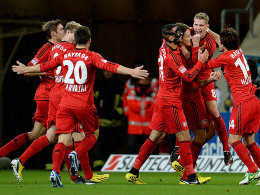 Bayer beim Torjubel: Bender hat soeben das 1:0 erzielt.