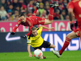 Bayerns Ribery (oben) gegen Bender
