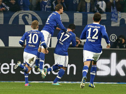 Holtby, Höwedes, Farfan und Höger (v.li.) feiern das 1:0