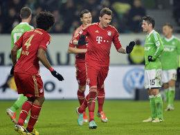 Mandzukic (Mi.) nach seinem Tor zum 1:0 für die Bayern