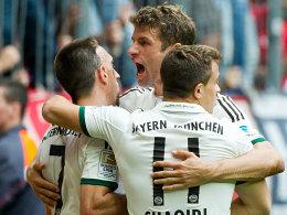 Franck Ribery, Thomas Müller, Xherdan Shaqiri (v.li.)