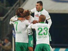 Die Spieler von Werder Bremen jubeln über das 1:1 von Clemens Fritz.