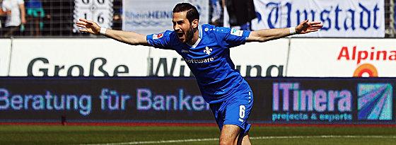 Erste Chance, gleich das Tor: Darmstadts Mario Vrancic nach dem 1:0.