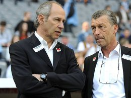 Zuversicht trotz Unsicherheit: L�wen-Coach Reiner Maurer (re. Sportdirektor Florian Hinterberger).