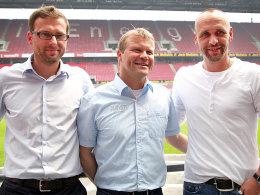 Ein Trio, um den 1. FC Köln auf Kurs zu bringen: Jörg Jakobs, Frank Schaefer und Holger Stanislawski.