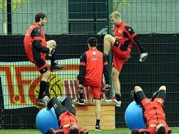 Anstrengende Länderspielpause: Unions Spieler quälten sich durchs Zirkeltraining.