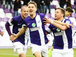 Goalgetter: Aues Jakub Sylvestr (Mitte) führt die Torjägerliste der Zweiten Liga an.