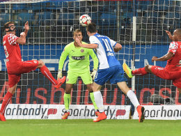 Gregoritsch köpft schulmäßig ein für Bochum, doch zum Sieg reichte dies nicht.
