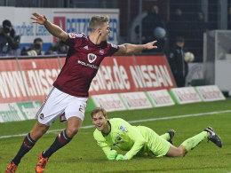 Nürnbergs Füllkrug machte das 1:0 in Sandhausen.