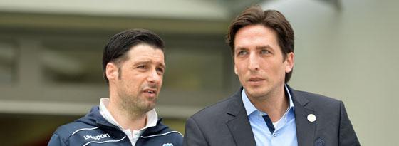 Haben die Hoffnung längst noch nicht aufgegeben: Duisburgs Trainer Ilia Gruev (l.) und MSV-Sportdirektor Ivica Grlic.