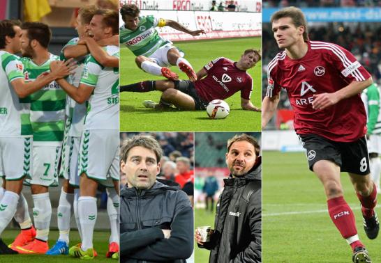 Jubelnde Fürther, Marco Caligiuri und Niclas Füllkrug, Rene Weiler und Stefan Ruthenbeck, Christian Eigler.