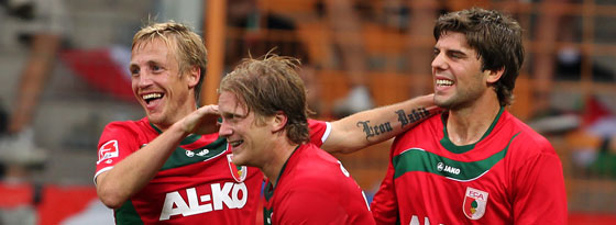 Thurk, de Jong, Kwakman (von links, FC Augsburg)