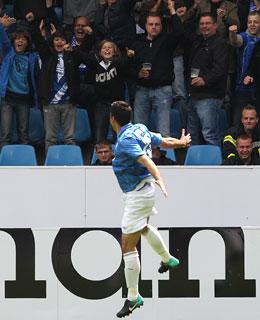 Mirkan Aydin (VfL Bochum) jubelt über sein Tor zum 1:0