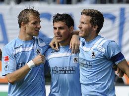 Stefan Aigner, Kevin Volland, Benjamin Lauth (alle TSV 1860 München)