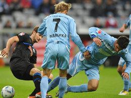 Nick Proschwitz (SC Paderborn 07), Daniel Bierofka und Antonio Rukavina (beide TSV 1860 München)