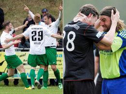 Erster Jubel: Der 1. FC Schweinfurt (li.) und der TSV 1860 Rosenheim hoffen auf den Ligaverbleib.