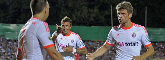 Franck Ribery, Mario Mandzukic und Thomas Müller (v. li.)