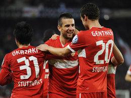 Hochkonzentriert und eiskalt: Die Stuttgarter ließen gegen St. Pauli nichts anbrennen, Ibisevic freut sich hier über sein zwischenzeitliches 2:0.