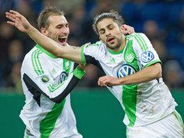 Die Wolfsburger Torschützen in Sinsheim: Rodriguez (re.) und Dost.