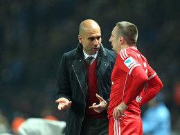 Franck Ribery mit Pep Guardiola