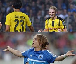 Die Dortmunder Torsch�tzen Sch�rrle und Kagawa sowie HSV-Matchwinner Halilovic.