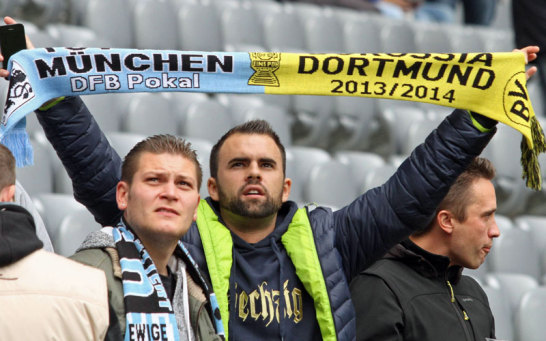 """Die L�wen-Fans genie�en es, wenn der """"gro�e Fu�ball"""" vorbeikommt. 1860 und den BVB verbindet eine """"lose Fanfreundschaft"""", wohl in gemeinsamer Abneigung gegen den Stadtrivalen der Sechziger."""