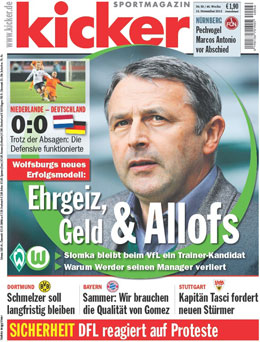 Aktuelle Ausgabe des kicker sportmagazin vom 15.11.2012