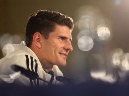 Mario Gomez am Dienstag auf der DFB-PK