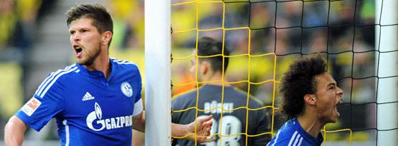 Im Verein kämpfen sie Seite an Seite: Die beiden Schalker Klaas Jan Huntelaar (l.) und Leroy Sané.