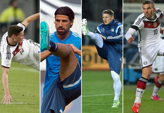 Julian Draxler, Sami Khedira, Bastian Schweinsteiger und Lukas Podolski