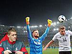 Nils Petersen (li.), Timo Horn (M.) und Matthias Ginter, im Hintergrund: das Maracana.