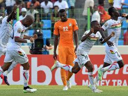 Guinea jubelt über das 1:0 gegen die Elfenbeinküste - am Ende hieß es 1:1.