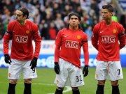 Dimitar Berbatov, Carlos Tevez, Cristiano Ronaldo (v.l.)