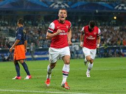 Lukas Podolski jubelt in Montpellier