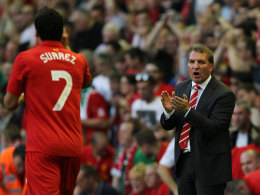 Brendan Rodgers (re.) und Luis Suarez