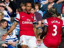 Theo Walcott bejubelt sein schnellstes Tor der Saison