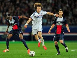 Zukünftig Teamkollegen: David Luiz (M.) und die PSG-Spieler Blaise Matuidi und Thiago Motta.