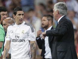 Trennung nach dem Supercopa-Gewinn: Angel di Maria und Real-Trainer Carlo Ancelotti.