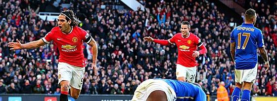 Heiß gegen Leicester: Radamel Falcao (li.), Robin van Persie und Co.