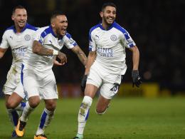 Freude pur: Auch gegen Watford gewann Leicester dank Riyad Mahrez (re.).
